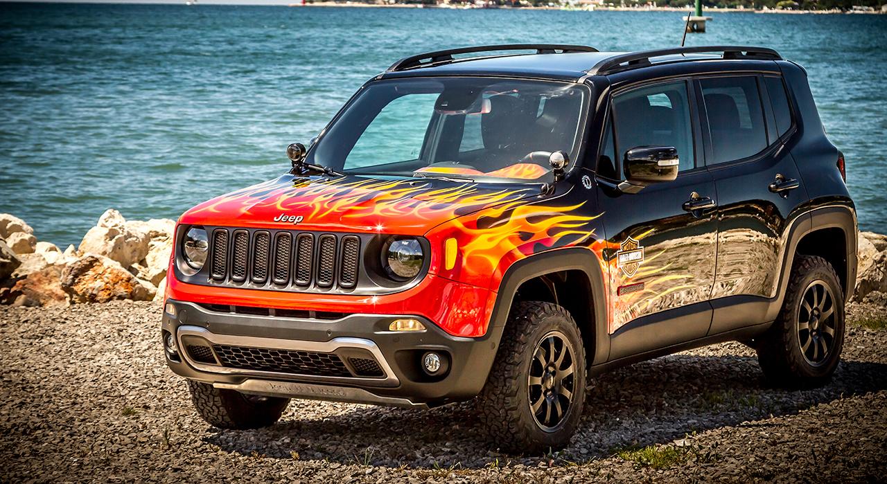 jeep renegade ganha tuning da harley davidson motor show. Black Bedroom Furniture Sets. Home Design Ideas