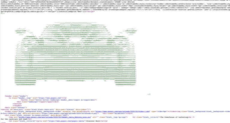 O novo carro da Pagani escondido no código fonte do site