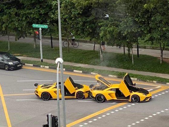 Dois Lamborghinis Aventador S idênticos, que no Brasil são vendidos a partir de R$ 4,5 milhões, bateram entre si em tiveram um príncipio de incêndio