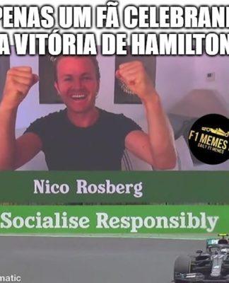 Memes da F1: parece montagem mas não é: Hamilton venceu na Hungria e o telão mostrou Nico Rosberg celebrando