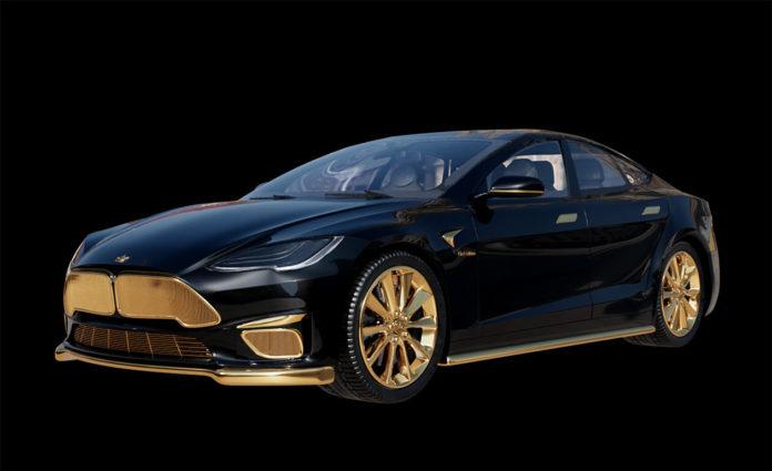Empresa russa cria Tesla com detalhes em ouro