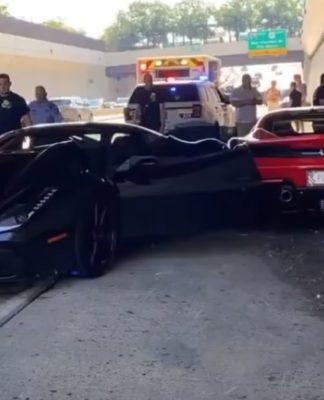 Câmera flagra colisão entre três Ferrari nos EUA; confira o vídeo